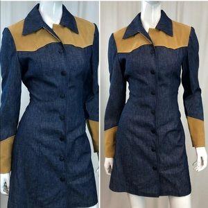 Vintage 80s 90s Denim Jean Button Down Shirt Dress